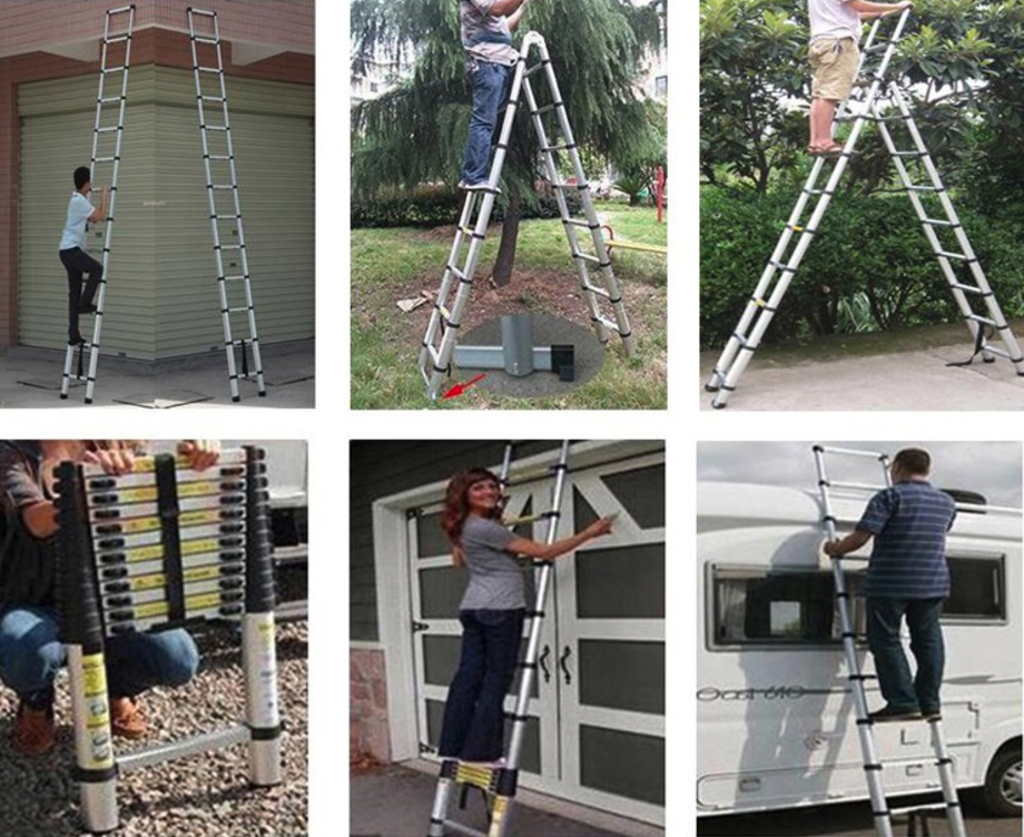 Double side aluminum telescopic ladder (10)