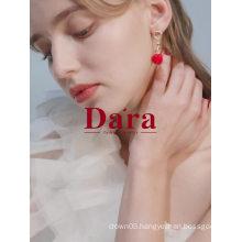 Europe Simple Geometric Red Heart Drop earrings Jewelry