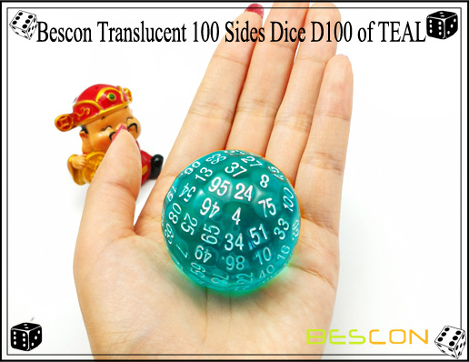 Bescon Translucent 100 Sides Dice D100 of TEAL-1