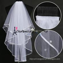 Véu de noiva de alta qualidade e elegantes de seda Tulle de noiva elegante