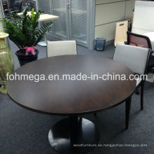 Mesa de comedor redonda moderna muy chapada de la nuez de la madera sólida en alta calidad