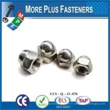 Fabriqué en Taiwan Nickel en acier inoxydable Brass Hexagon Domed Cap Nut Fin Thread