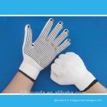 Gants de travail blanchis en polyester blanc blanchi de calibre 10 avec des points en PVC sur la paume