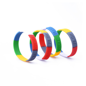 Multi Colors Silicone Bangle Words Engraved Wristband