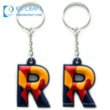 Factory direct sale popular design custom soft pvc rubber alphabet letter R keychain with customized logo