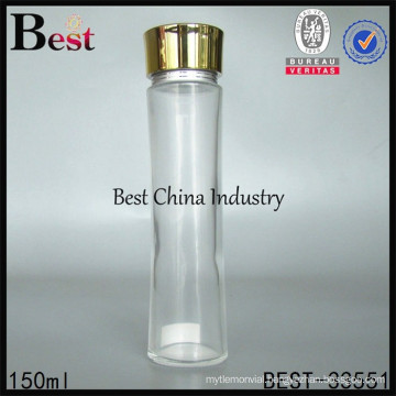 big cosmetic glass bottle lotion 150ml, cosmetic foundation bottle packaging, silk printing service, OEM