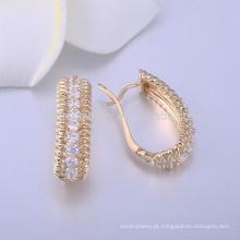 brincos de pedra branca do parafuso prisioneiro brinco de ouro do diamante