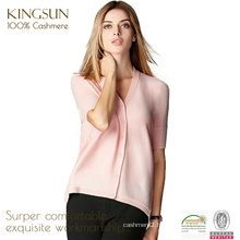 JS-12012 short sleeve and V neck pattern pure cashmere cardigan for women