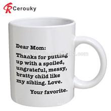 Custom for mother gift white ceramic porcelain mug