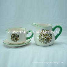 Handgemaltes Keramik-Sahne- und Zuckerschüssel-Set für Großhandel
