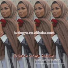 Hot whosale tassels cotton bubble scarf muslim viscose shawl hijab