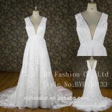 Sleeveless V-neck Design and Classic Style wedding anniversary wedding dresses