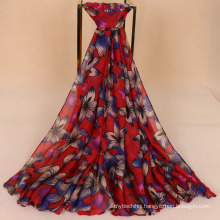 Hot selling retro pakistani scarf hijab beautiful bauhinia flower printed 5 colors women lady cotton voile scarf
