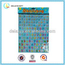colorful alphabet PVC sticker with gilt-edge