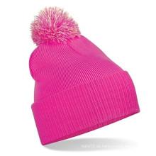 Niedlicher rosa Beanie-Hut gepaßte niedliche Winter-Hüte Strickte Kopfbedeckung (XT-B036)