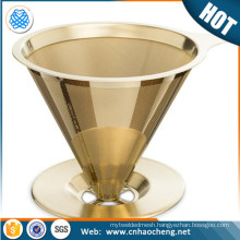 Titanium coated stainless steel gold pour over cone dripper coffee filter