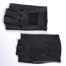 Gants de moto en cuir avec fermeture ajustée