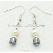 Fashion Hematite Drum Beads Earring
