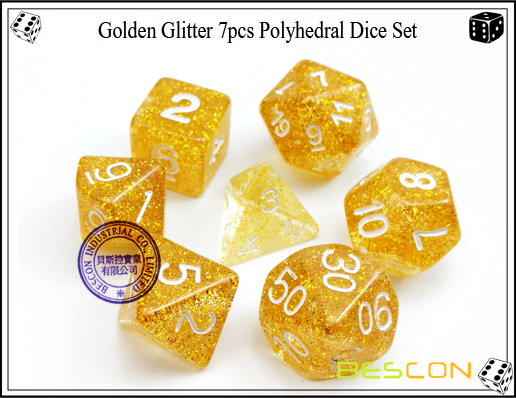 Assorted Colored Glitter 7pcs Polyhedral Dice Set-20