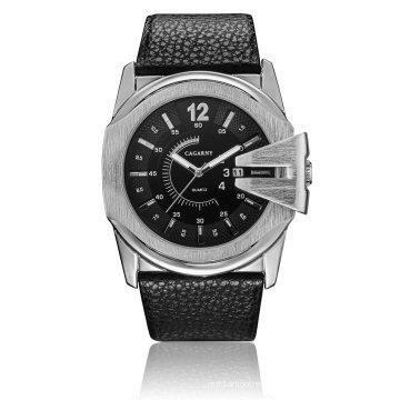 6838 Big Dial Relógio De Pulso De Quartzo Multi-Função Ss Buckle Leather Strap