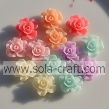 Factory Wholesale 15MM Solid Color Resin Flower Beads