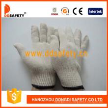 Guantes de trabajo de poliéster de algodón natural blanco Dck410