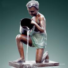 Gran Estatua Boy & Cubo Fuente Bronce Escultura Tpls-017