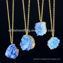 2015 new arrive fashion gold edge druzy natural stone pendant necklace for women