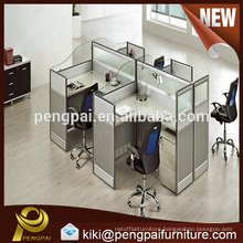 Four seater staff table workstation design with glass screen