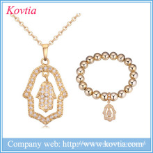 2016 cz collier de mariée bijoux à main en zircon ensemble bijoux en or 18k en gros pour femmes