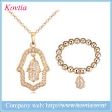 2016 cz nupcial colar zircão mão jóias conjunto atacado ouro 18k jóias para as mulheres
