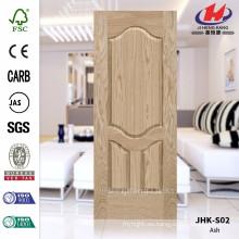 JHK-S02 Puerta de alta calidad de la piel 4 mm muy cóncava naturaleza cenizas puerta piel MDF chapa de pino utilizado en el precio exterior panel de la puerta