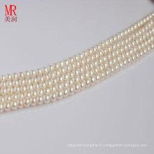 Bracelet en perles d'eau douce blanc 7-8mm, bouton rond