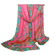 Tingyu brand best selling indian paisley printed flower girls hijab bubble chiffon shawl scarf