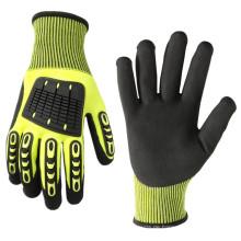 Heavy Duty Aufprallschutz Arbeitshandschuhe aus Nitril mit Level 5 Cut Resistant Glove Liner