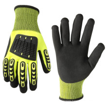Heavy Duty Impact Protection Nitrile Work Gloves with Level 5 Cut Resistant Glove Liner