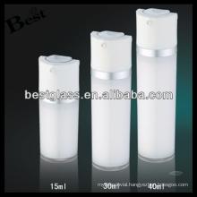 15/30/40ml round acrylic vacuum bottle with white cap, pump round acrylic vacuum bottle