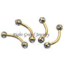 Disco de cristal bola sobrancelha Piercing anéis folheados a ouro de titânio