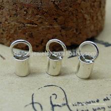 Boucle de tube de peau Cordon clip de connecteur Collier Buckle 2014 bijoux en argent sterling 925 sterling DIF SEF014