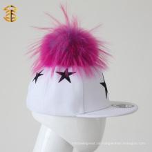 Top Sale Pelz Pom Pom Kinder Caps Custom Hysteresen Hüte für Kinder