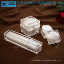 Capas dobles High-End de cristal color blanco perla hermoso cuadrado empaquetado cosmético plástico acrílico de la muestra