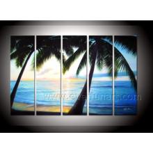 Decorative Canvas Art Coconut Tree Painting Seascape Oil Painting on Canvas (SE-197)