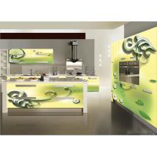 Gabinete de cocina del vidrio DIY 3D del uso casero