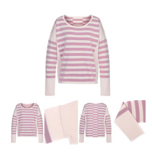 Round Neck Pure Cashmere Sweater with Stripes