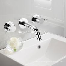 Misturador de lavatório de banheiro de parede de latão duplo de alta qualidade