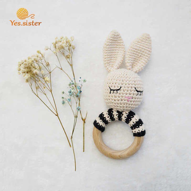 Crochet Bunny Rattle Wooden Baby Teether