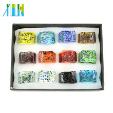 MC1004 New Fashion Rectangle Shape Lampwork Glass Rings 12pcs/box