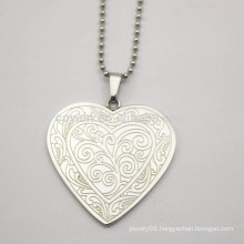 Silver Plated Engravable Stainless Steel Heart Pendant