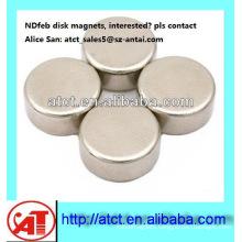 Best quality of N42 Nickel-plating disc magnet motor