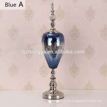 Decorative furniture accessories beautiful blue glass bottle for home decoration